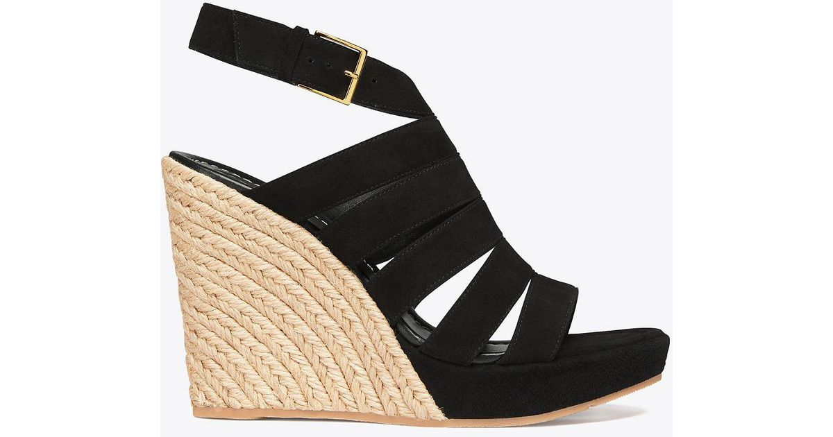 0e18ae921ee Lyst - Tory Burch Bailey Multi-strap Wedge Espadrille in Black