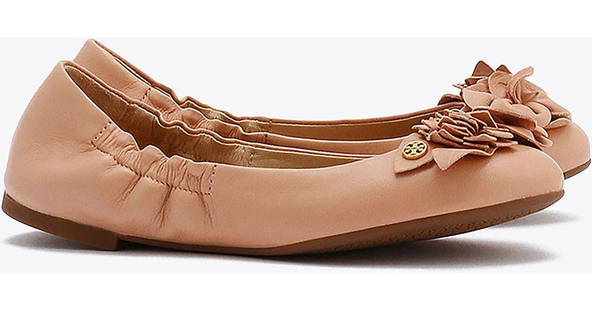 ff1797b7749 Lyst - Tory Burch Blossom Ballet Flat in Brown