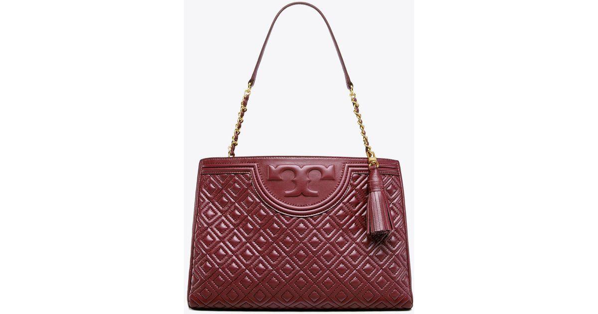 8146a6533fd Tory Burch Fleming Open Shoulder Bag in Purple - Lyst