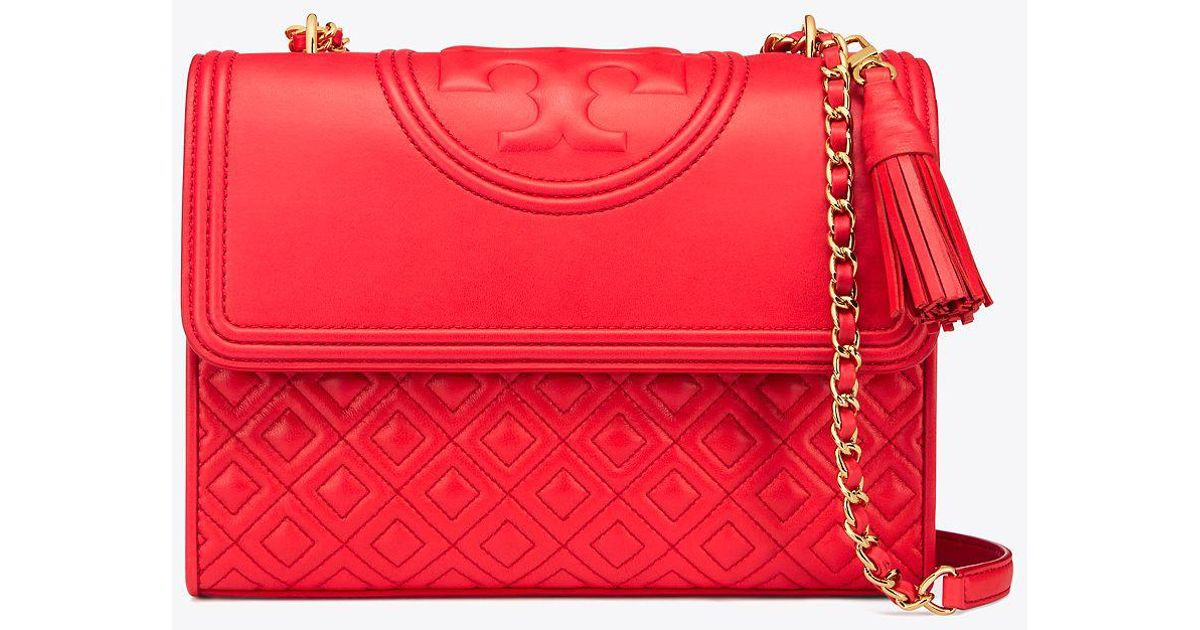 88f0a188865 Lyst - Tory Burch Fleming Convertible Shoulder Bag in Red