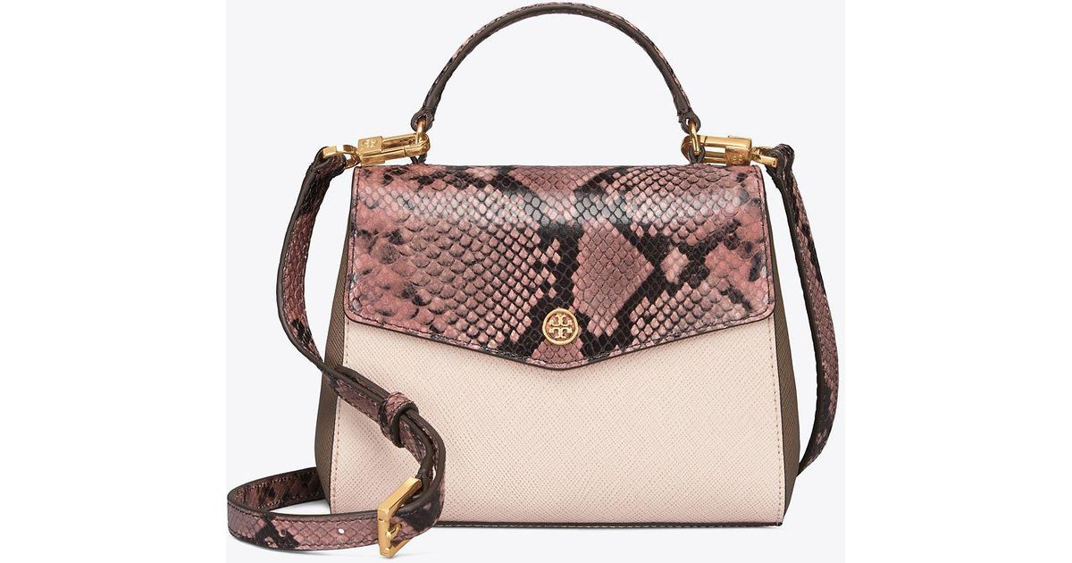 893151787d40 Tory Burch Robinson Mixed-materials Top-handle Satchel in Pink - Lyst