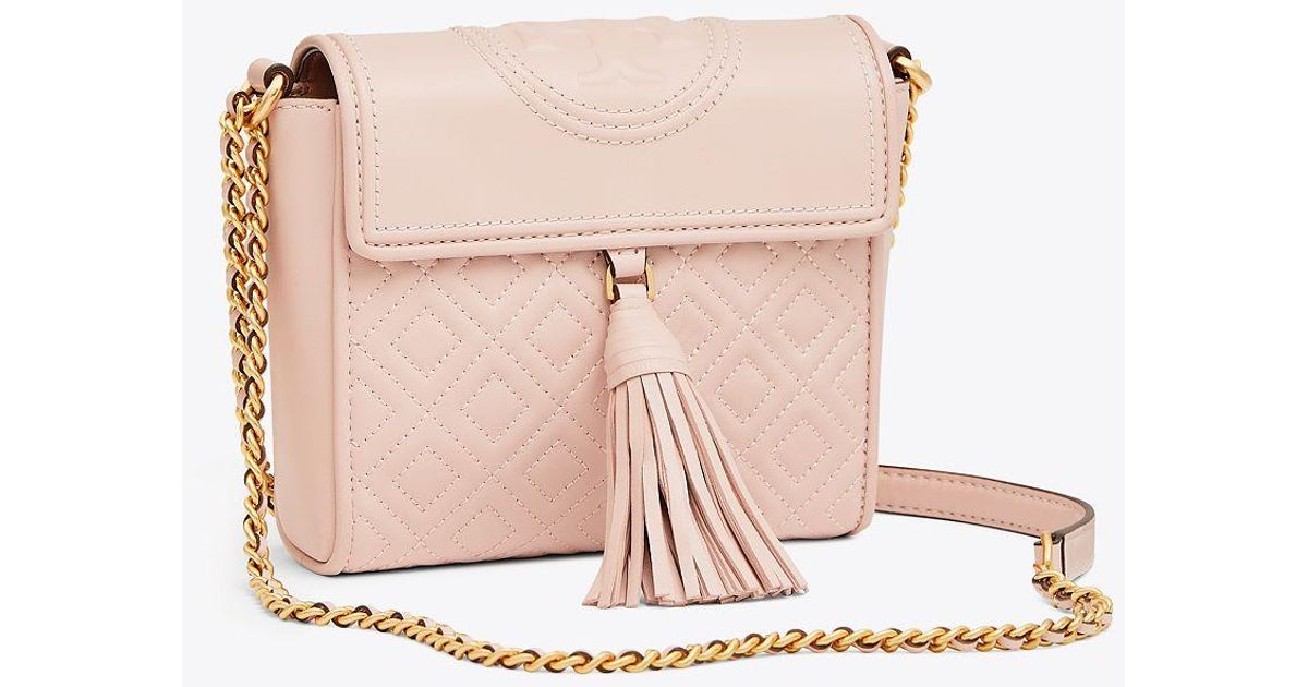 f0dd78467 Tory Burch Fleming Box Crossbody Bag In Pink Lambskin in Pink - Lyst