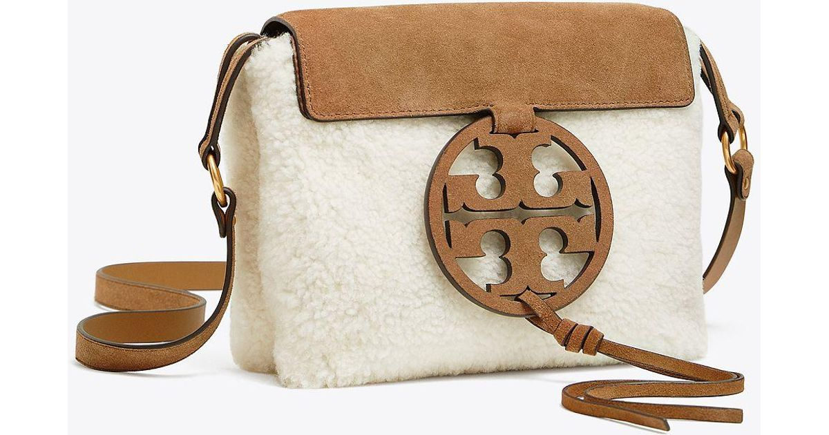 4b7fee03409 Lyst - Tory Burch Miller Shearling Cross-body