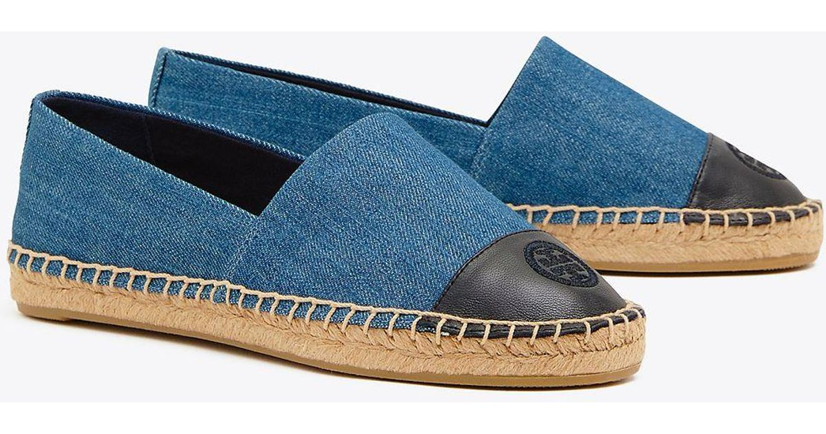 1443333b341b3 Lyst - Tory Burch Color Block Flat Espadrille (denim Chambray) Women s Shoes  in Blue - Save 59%
