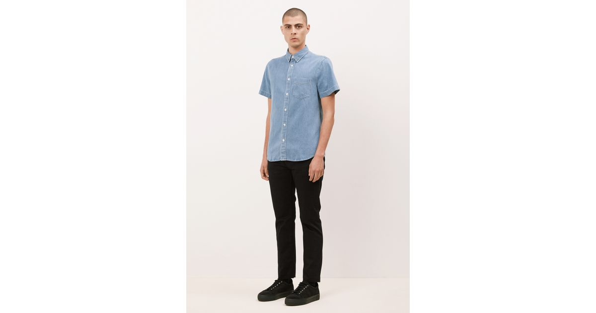 3b11690bf9 Lyst - Acne Studios Bleached Denim Isherwood Denim Short Sleeve Shirt in  Blue for Men