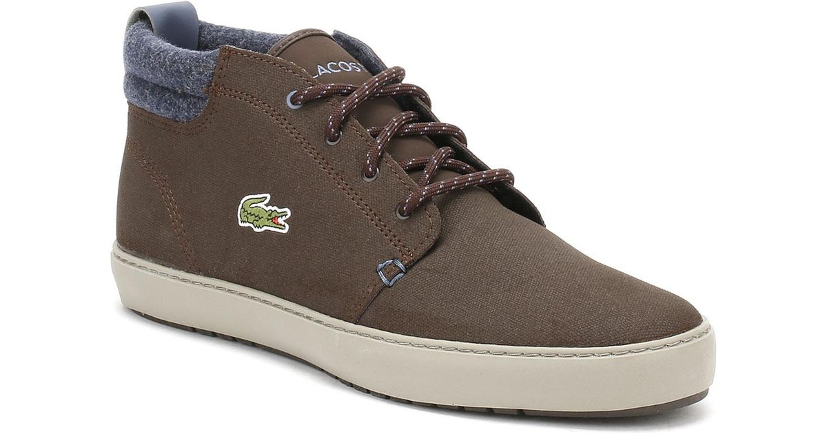 eae5e33c7702 Lyst - Lacoste Mens Dark Brown Ampthill Terra Leather Trainers in Brown for  Men