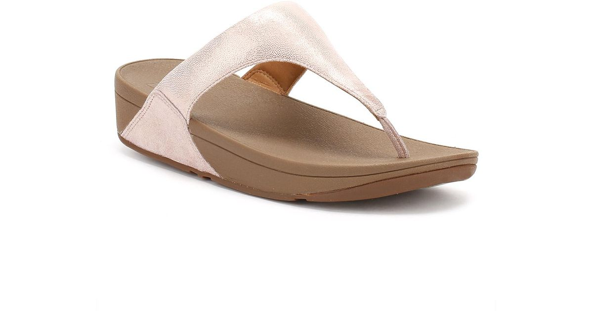 4f04d81fdbfe Lyst - Fitflop Womens Rose Gold Shimmy Suede Toe Post Sandal