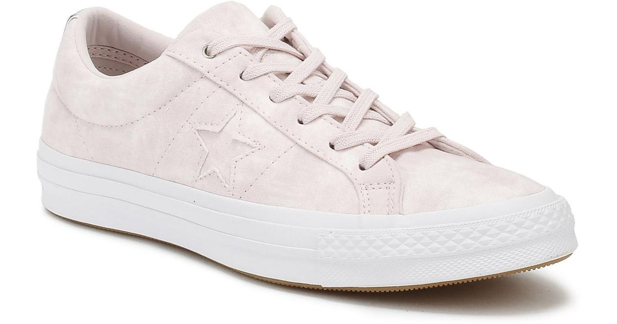3b3f3ed2d2e Lyst - Converse One Star Womens Barely Rose Canvas Ox Trainers in White