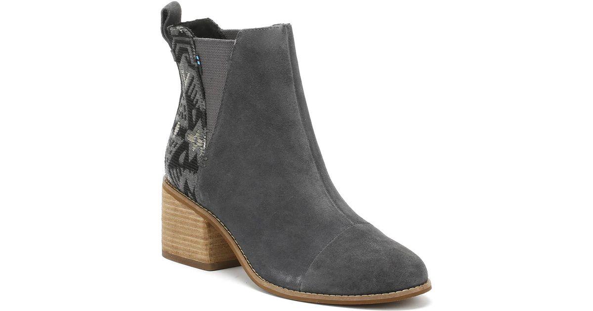 20e2a65da TOMS Esme Womens Grey Jacquard Suede Boots in Gray - Lyst