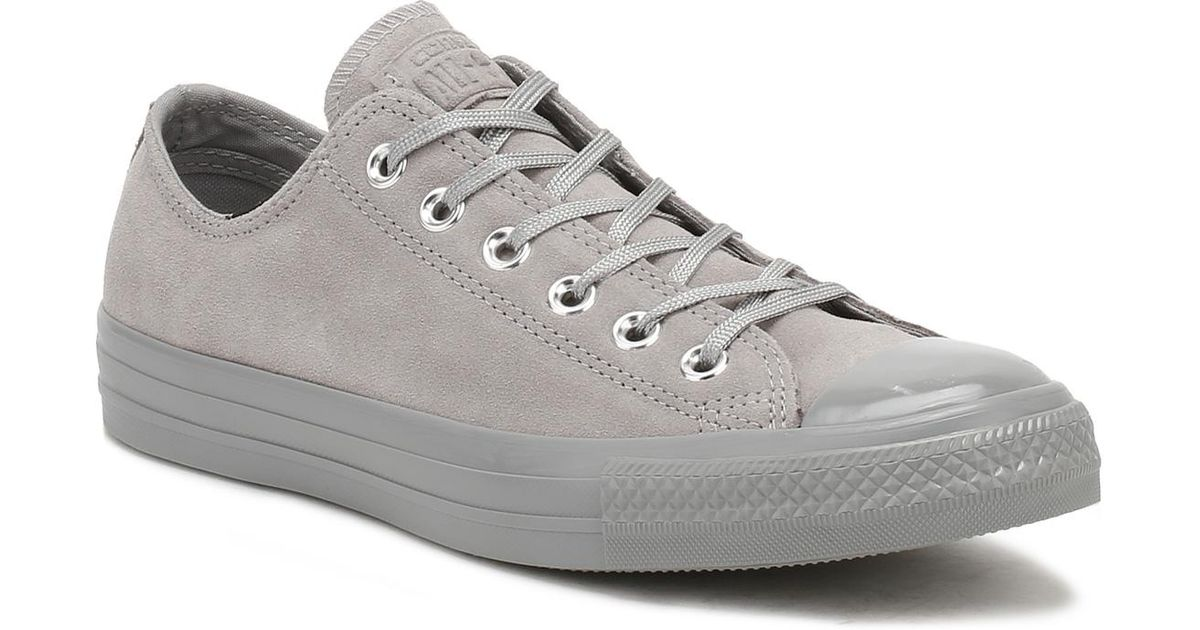 a25f9ec60218 Lyst - Converse Chuck Taylor All Star Womens Dolphin Grey Suede Ox Trainers  in Gray