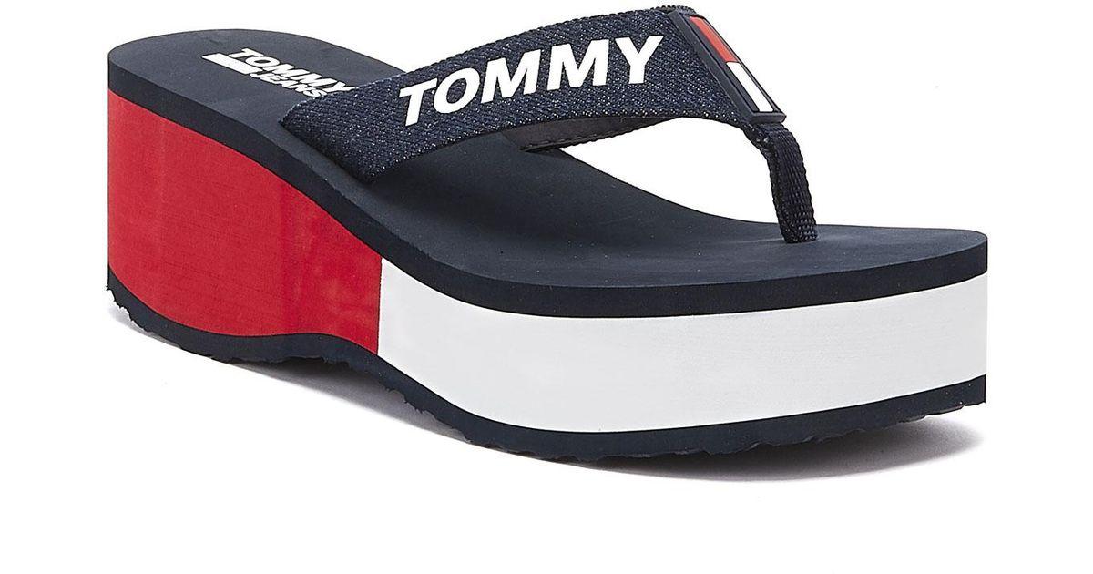 Shop Navy Tommy Hilfiger Colourblock Flip Flops for Men | NISNASS