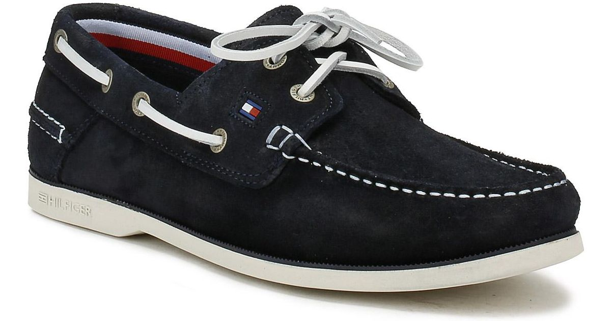 ce3a4d096 Lyst - Tommy Hilfiger Mens Midnight Navy Classic Suede Boat Shoe in Blue  for Men