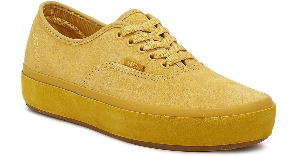 99352e2bc0a6aa ... Lyst - Vans Womens Ochre Yellow Authentic Platform Trainers ...