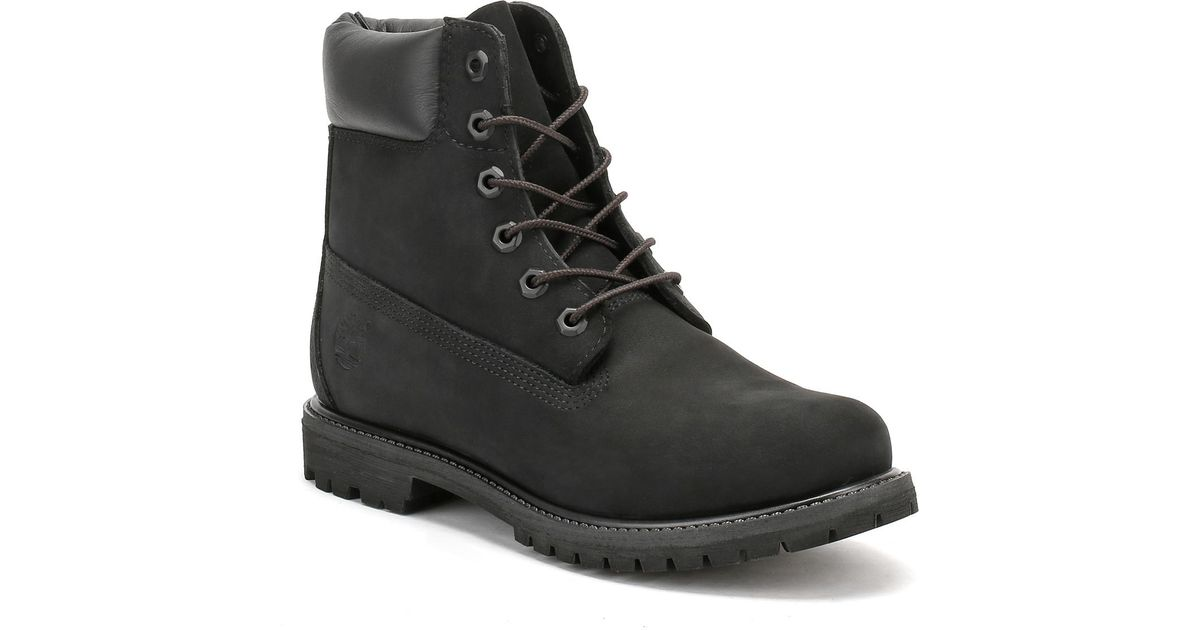 f2225d8e0493 Timberland Womens 6 Inch Premium Black Nubuck Leather Boots in Black - Lyst