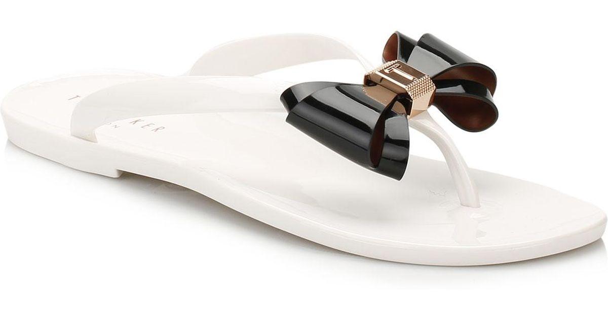 0470a9c83 Ted Baker Womens Cream black Rafeek Flip Flops in Black - Lyst