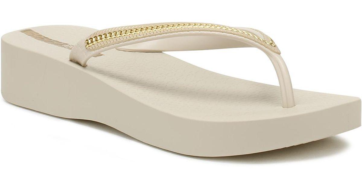 440ee5d7f Lyst - Ipanema Womens Brown   Gold Mesh Wedge Flip Flops