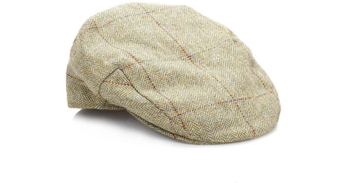 08a0caba3a8 Barbour Mens Khaki Herringbone Olive Check Crieff Cap in Natural for Men -  Lyst