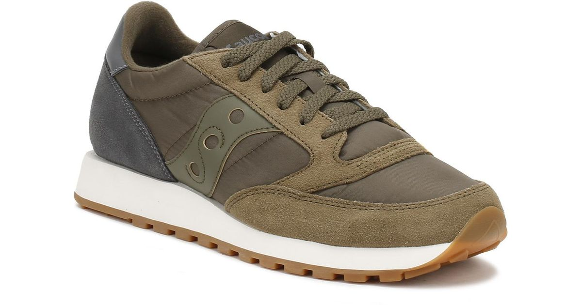 Saucony Womens Olive Green Charcoal Jazz Original Trainers