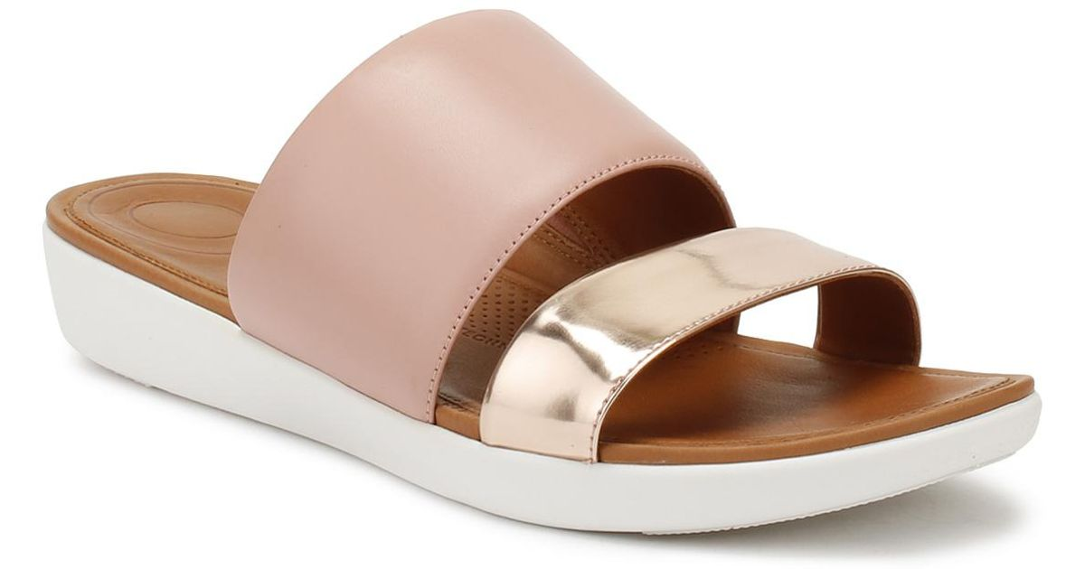 9ea1972eede1 Lyst - Fitflop Womens Dusky Pink   Rose Gold Mirror Delta Slides in Pink