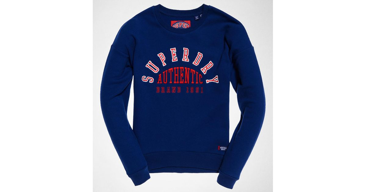 Superdry urban street applique crew soft navy jumpers cardigans
