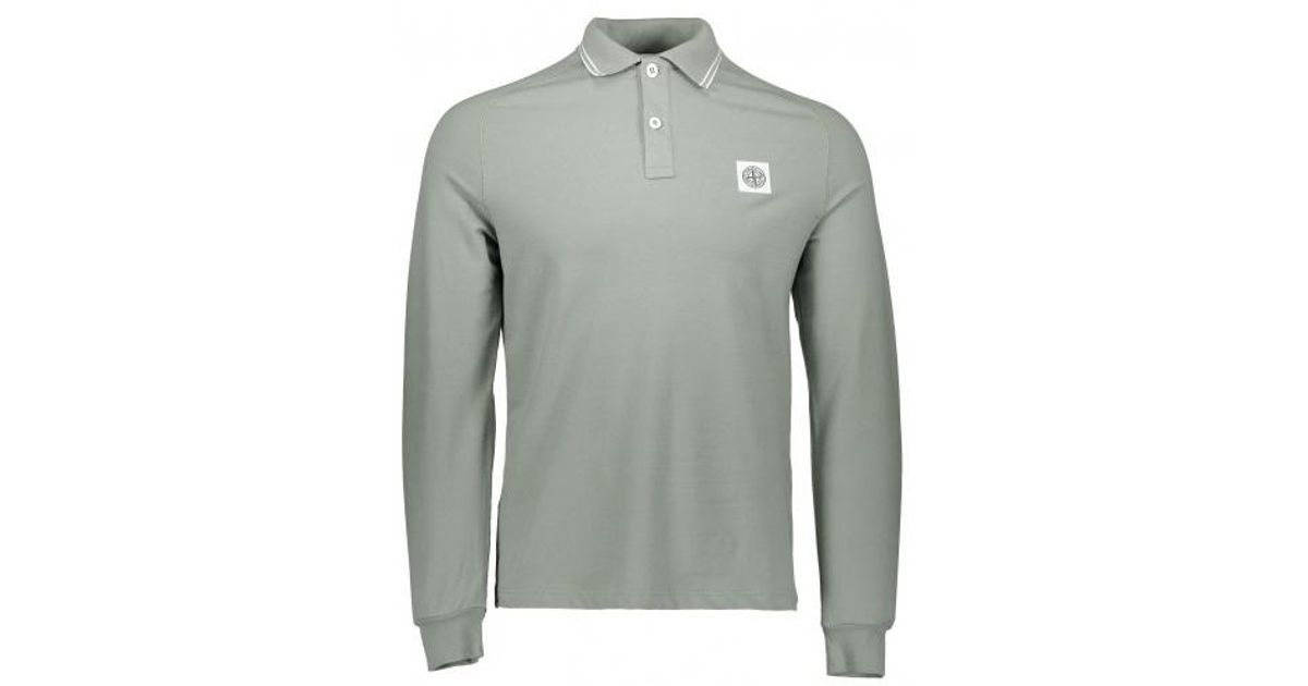 4f32540ee025 Stone Island Ls Patch Logo Polo in Gray for Men - Lyst