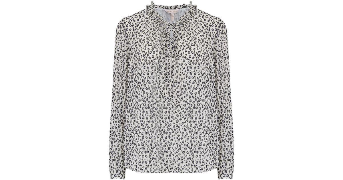 58c429f75877e Rebecca Taylor Long Sleeve Mini Cheetah Print Top In Snow Combo - Save 30%  - Lyst