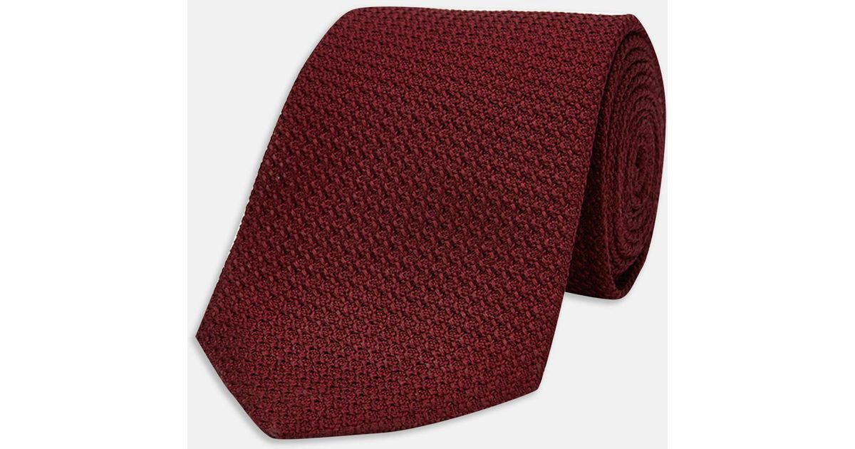 1d1b17aff6ba Turnbull & Asser Burgundy Grenadine Silk Tie in Red for Men - Lyst