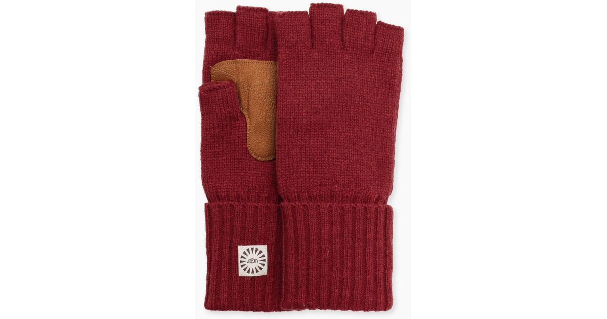 Lyst Ugg Mens Classic Knit Fingerless Glove In Red For Men
