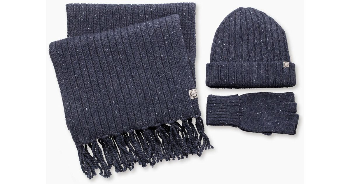 01e81be413b Lyst - UGG Men s Glove Ribbed Scarf And Hat Set in Blue for Men