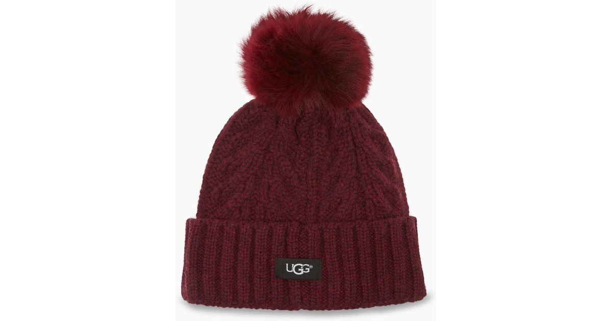 020df744 UGG Women's Cable Pom Beanie in Red - Lyst
