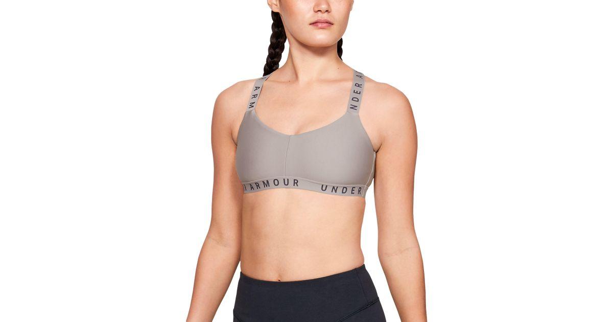5eb85c3ab1 Lyst - Under Armour Women s Ua Wordmark Strappy Sports Bralette Bra in Gray