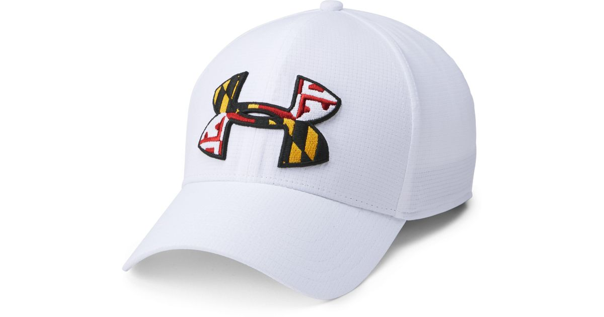 0a652799c83 ... where to buy lyst under armour mens ua maryland flag armourventtm cap  in white for men