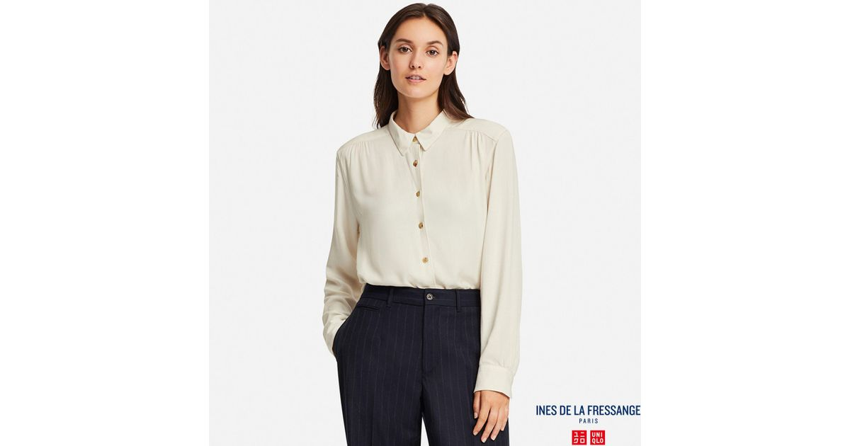 df2e9bd2 Uniqlo Ines Rayon Long Sleeved Blouse in White - Lyst