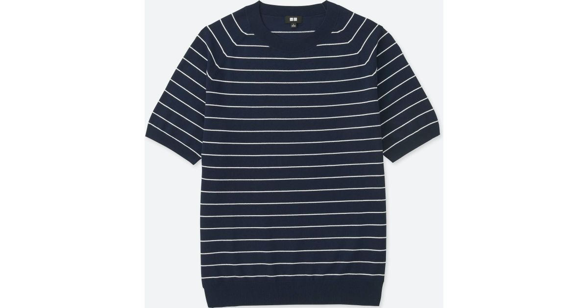 Lyst - Uniqlo Men Washable Striped Crewneck Short-sleeve Sweater in Blue  for Men 0fe01ee42