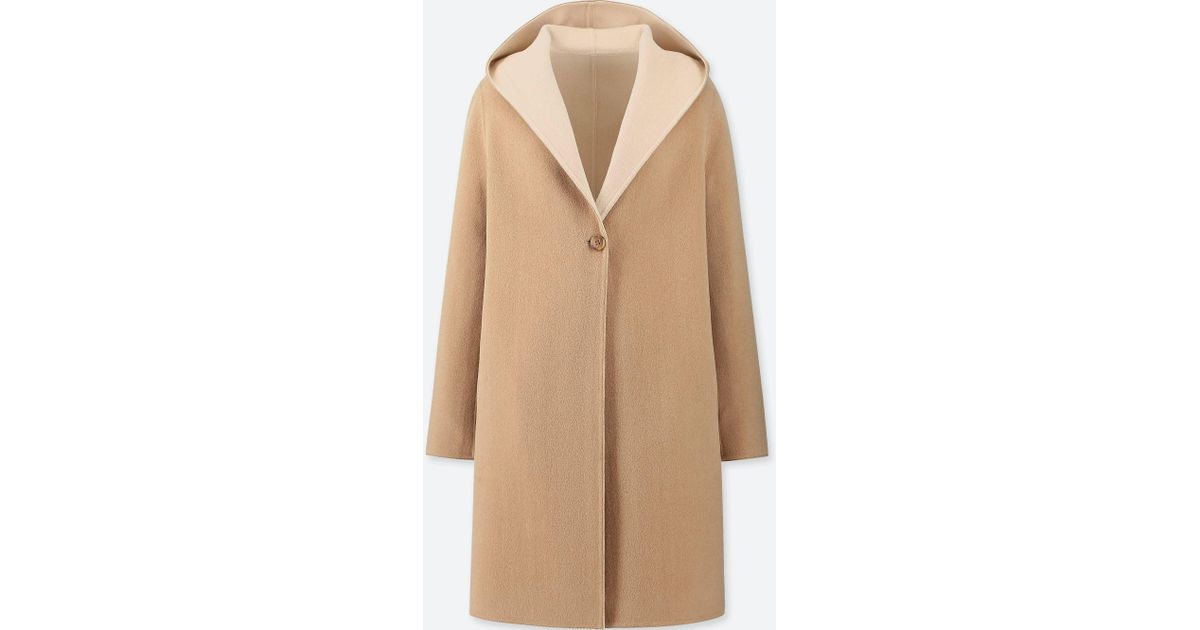396b2ec5053 Uniqlo Women Double Face Hooded Coat in Natural - Lyst
