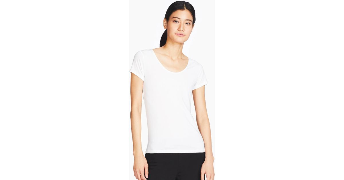 87582fcfe37c Lyst - Uniqlo Airism Scoop Neck Short Sleeved T-shirt in White - Save 22%