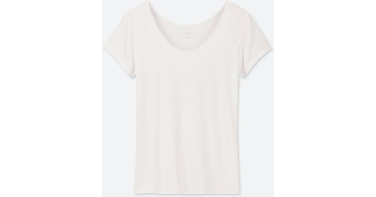 4cd7e1a2e62c Lyst - Uniqlo Women Airism Scoop Neck Short-sleeve T-shirt in White