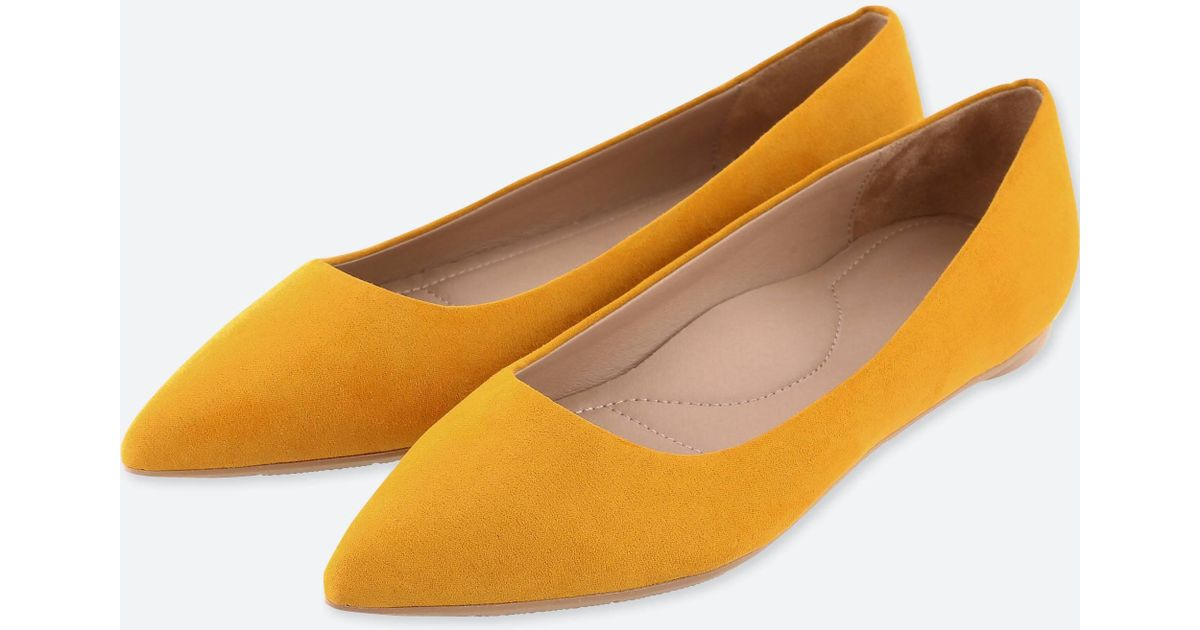 6c81b2c2e9 Lyst - Uniqlo Women Pointed Faux Suede Flat Shoes in Orange