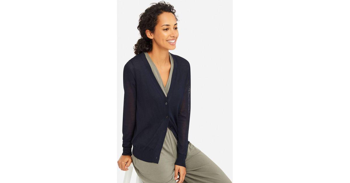00658bfd803c Lyst - Uniqlo Women Light V-neck Cardigan in Blue