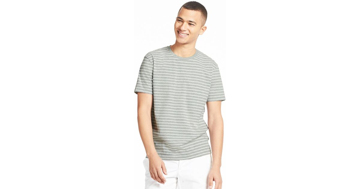 31e1fe08b0 Lyst - Uniqlo Men Striped Crewneck Short-sleeve T-shirt in Gray for Men