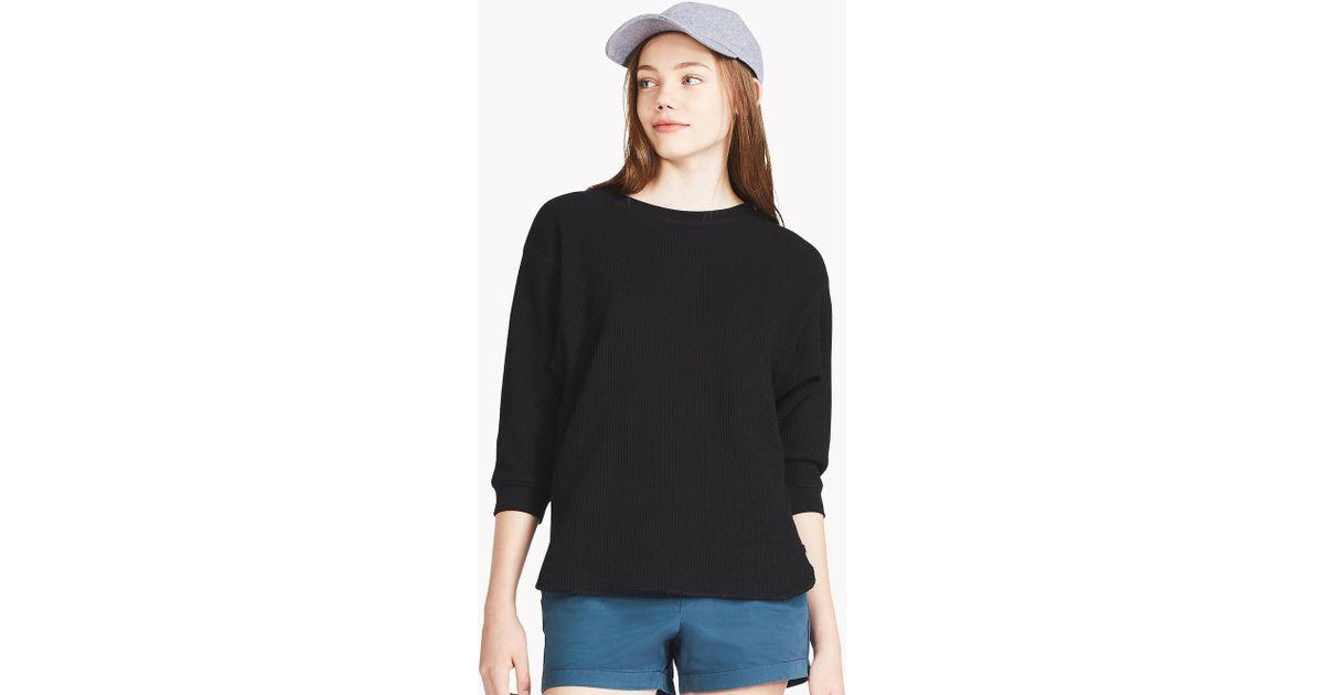 228fa1a2 Uniqlo - Black Women Waffle Crew Neck 3/4 Sleeve T-shirt - Lyst