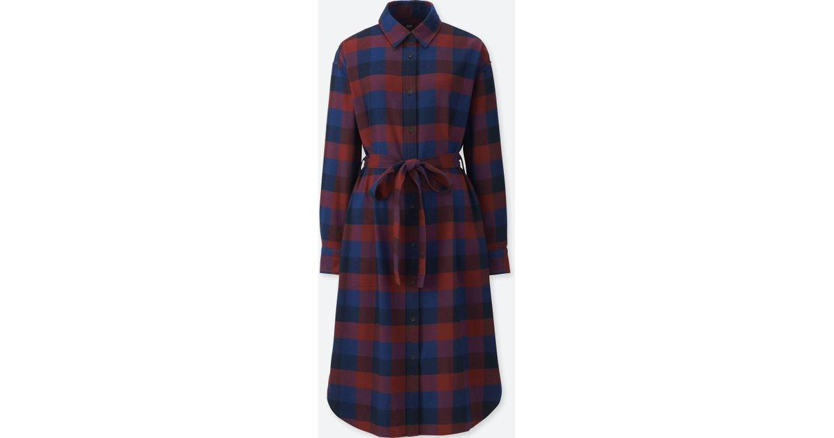 Lyst - Uniqlo Women Flannel Long-sleeve Shirt Dress in Red 34072b773