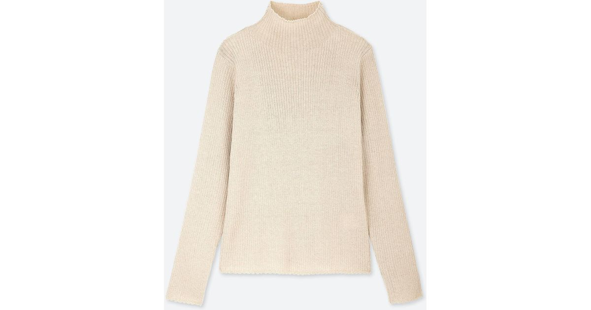 5c53f1f9d0 Lyst - Uniqlo Women Shiny Ribbed High-neck Sweater in White