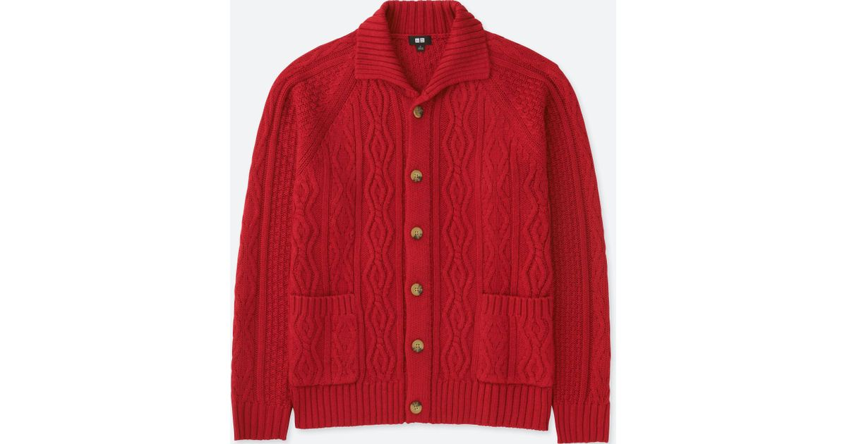 Lyst - Uniqlo Men Cable Knit Long-sleeve Cardigan in Red for Men fb9ccbaa5