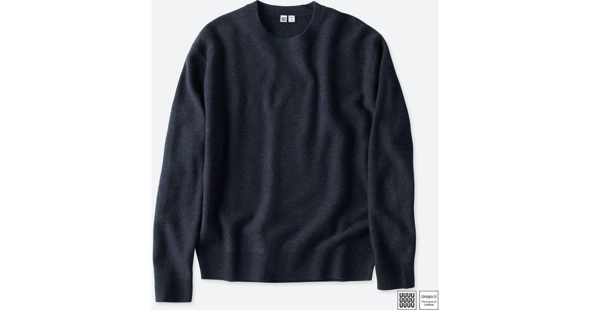 fd023c432c Lyst - Uniqlo Men U Soft Lambswool Crewneck Long-sleeve Sweater in Blue for  Men