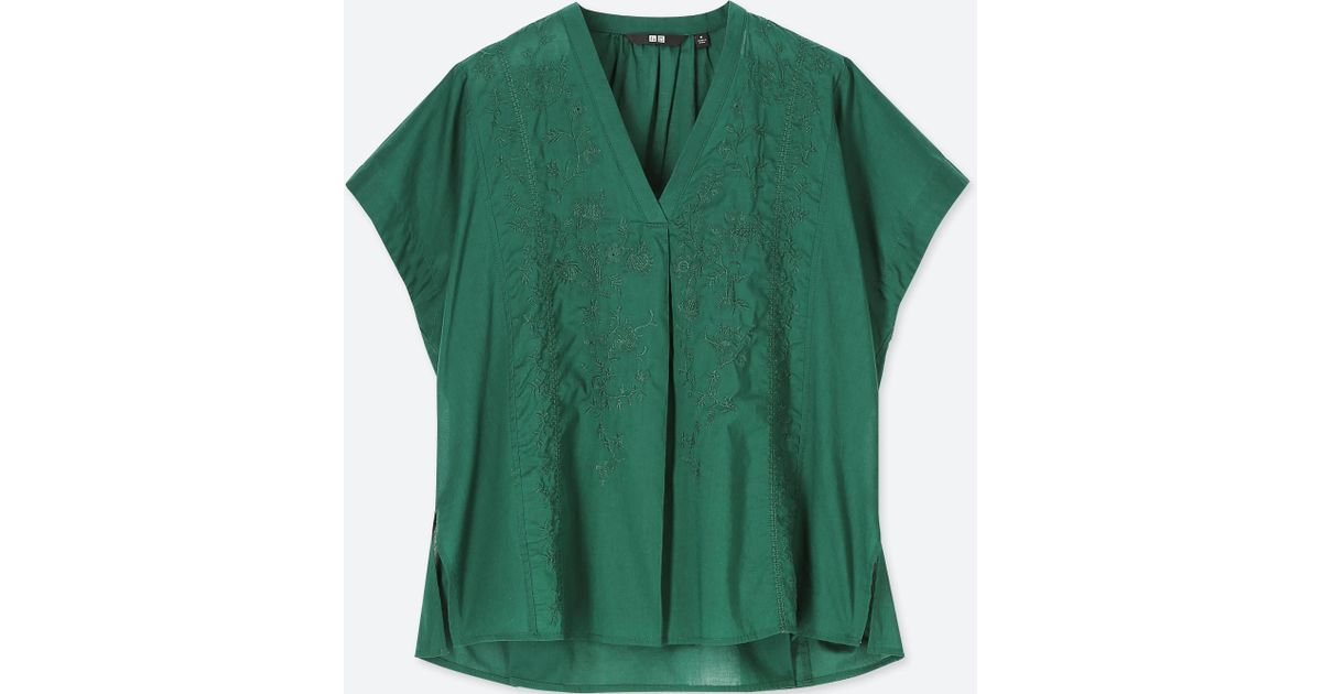 Lyst Uniqlo Women Cotton Embroidered Short Sleeve Blouse In Green