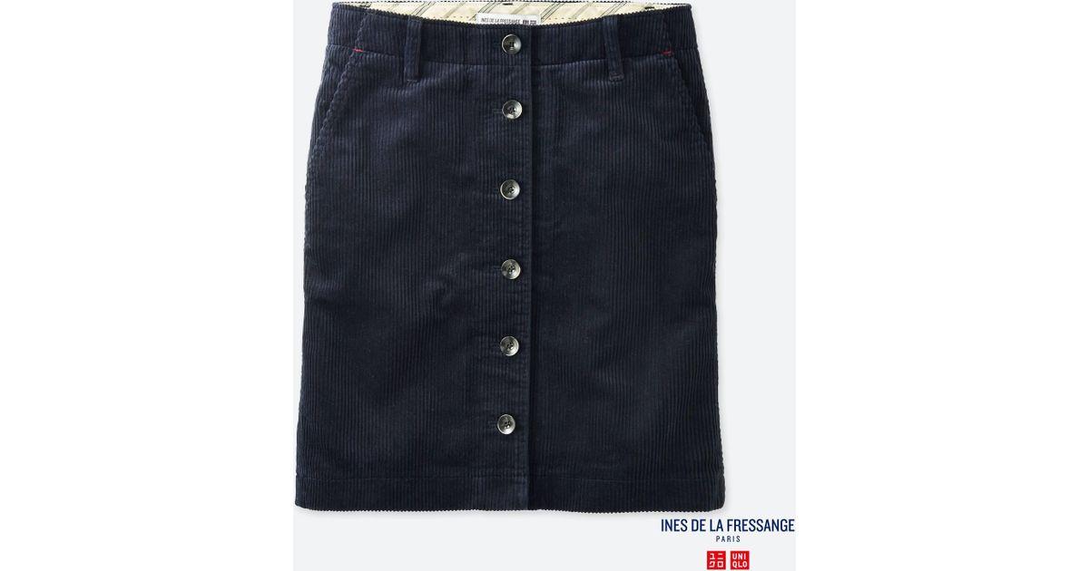 15ea38a925 Lyst - Uniqlo Women Idlf Corduroy Mini Skirt in Blue