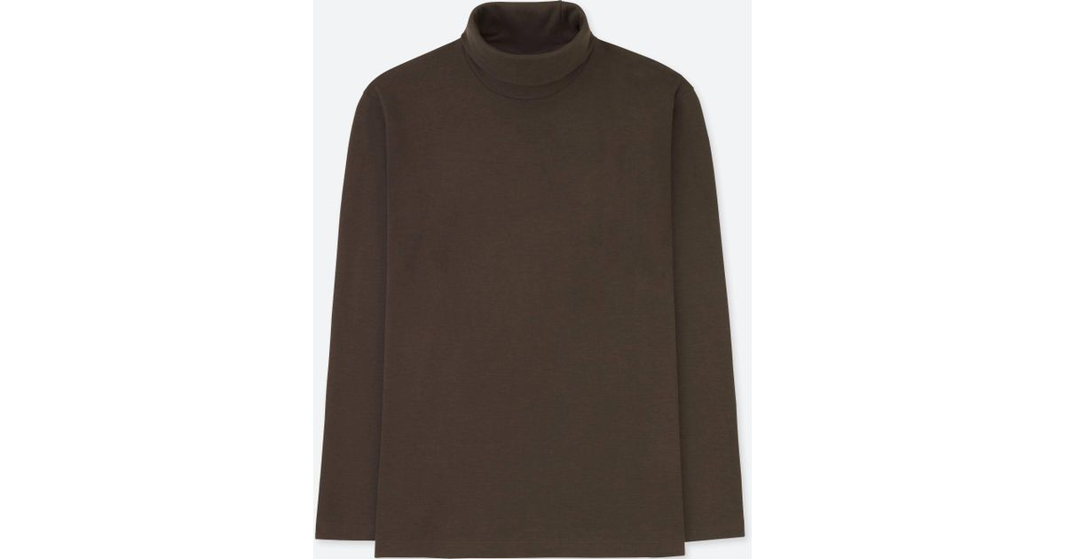 Lyst Uniqlo Men Soft Touch Long Sleeve Turtleneck In Brown For Men