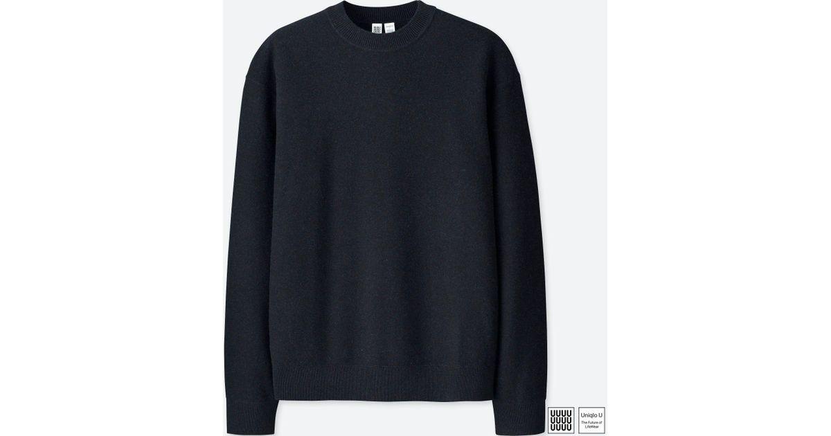 36ddee7de5d7cf Uniqlo U Premium Lambswool Crew Neck Long Sleeve Sweater in Black for Men -  Lyst
