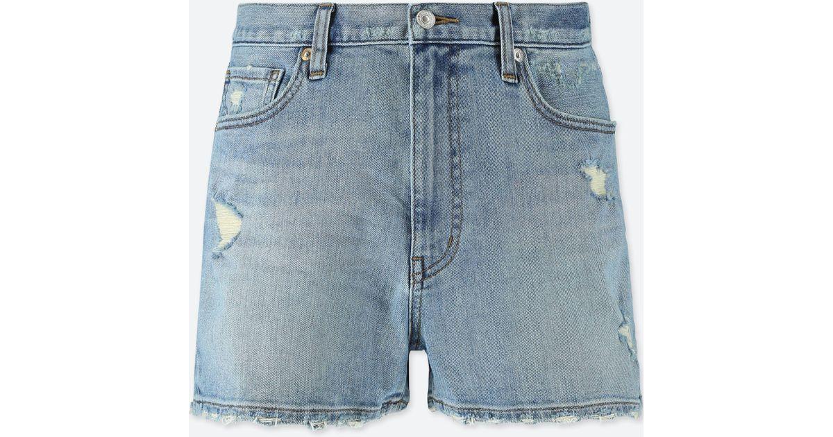 cd085443e5 Uniqlo High Rise Denim Vintage Shorts in Blue - Lyst